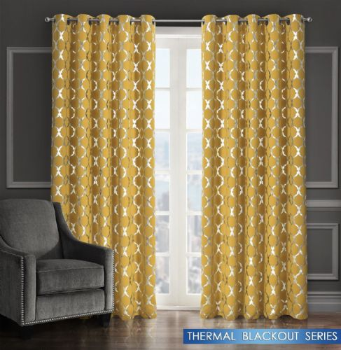 GEOMETRIC LATTICE METALLIC LIVINGROOM BEDROOM THERMAL BLACKOUT RING TOP CURTAINS OCHRE
